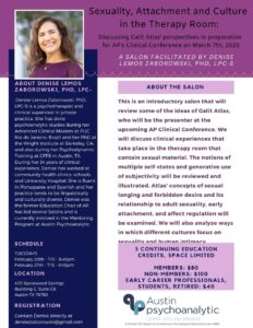 Sexuality, Attachment and Culture in the Therapy Room - Austin Psychoanalytic